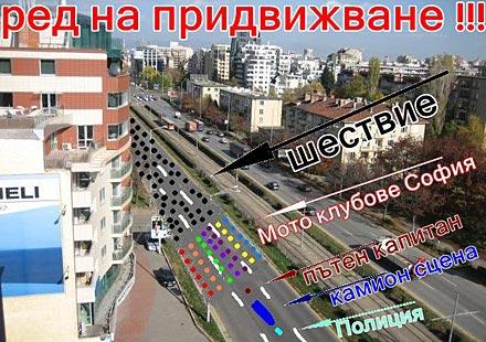 Схема за придвижване на шествието на откриването на мото сезон 2011