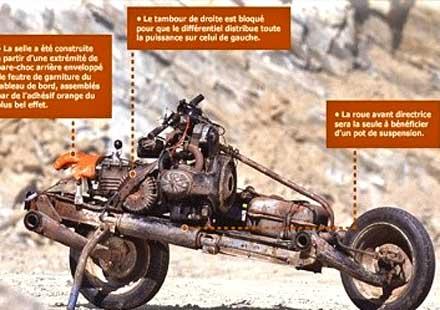 Ръчно изработен мотор в центъра на Сахара