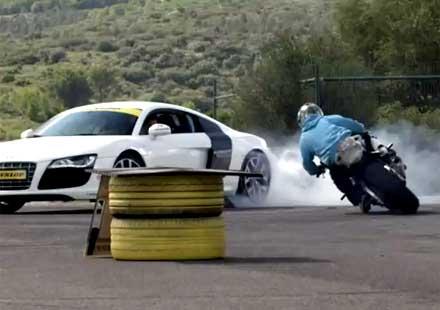 BMW S1000RR и Audi R8 в дрифт битка (видео)